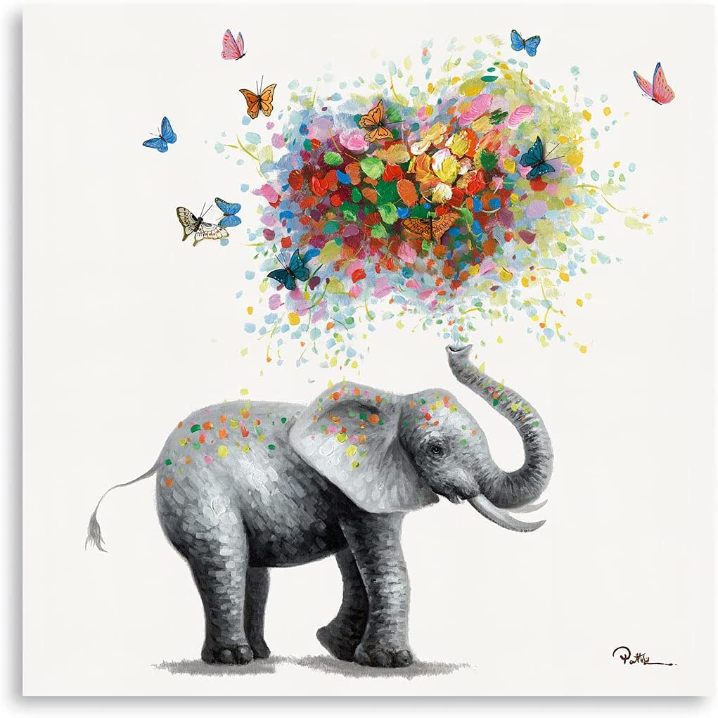Butterfly Elephant Wall Art Print: Colorful Heart Shaped Balloon for Kids' Nursery Wall Decor Canvas Framed Ready to Hang (12