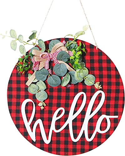 """lowest Welcome Sign Wreath Welcome Front Door Eucalyptus Wreath 2021 Round Wood Hanging Welcome Sign with Green Swag for Farmhouse Porch Spring Welcome online Sign Front Door Decoration, 12"""" outlet sale"""