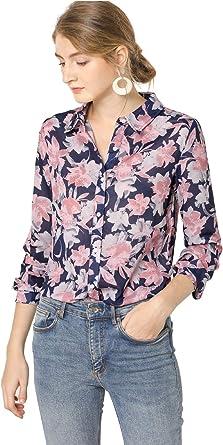 Allegra K Camisa Estampada Floral Abotonada Mangas Largas ...