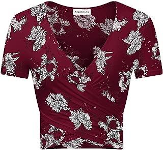 Glanzition Womens Shirts Short&Long Sleeve V Neck Crop Tops