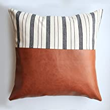 Kimberly Glow Faux Leather Throw Pillow Covers for Couch - Set of 2 - Modern/Boho/Farmhouse - White Stripes + Leather - MidCentury Modern Couch Decor - Rustic Accent- Soft Cozy Pillows- 18 x 18