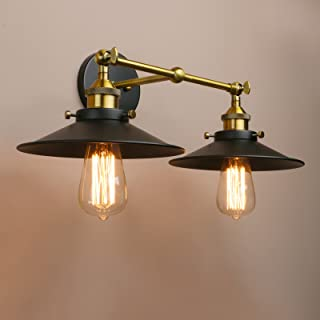 Pathson Wall Sconce, Industrial Edison Simplicity 2-Light Brass Bathroom Light Fixtures, Black with Antique Mid Century Lamps for Living Room(Antique)