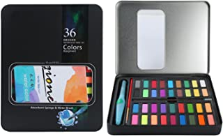 MEEDEN Watercolour Paint Set, Professional Art Paint Set with 36 Vibrant Colours, Brushes, Charcoal Pencil, 2 Sponges and 8PCS Paper in Metal Tin Box - Perfect for Artists and Budding Hobbyists