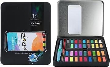 MEEDEN Watercolour Paint Set, Professional Art Paint Set with 36 Vibrant Colours, Brushes, Charcoal Pencil, 2 Sponges and ...