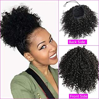 Afro Kinky Curly Clip in Ponytail Hair Extensions 4B 4C Human Hair for Black Women 12 Inches Clip in Top Closure Drawstring Ponytail Hair Piece Natural Black 110 Gram