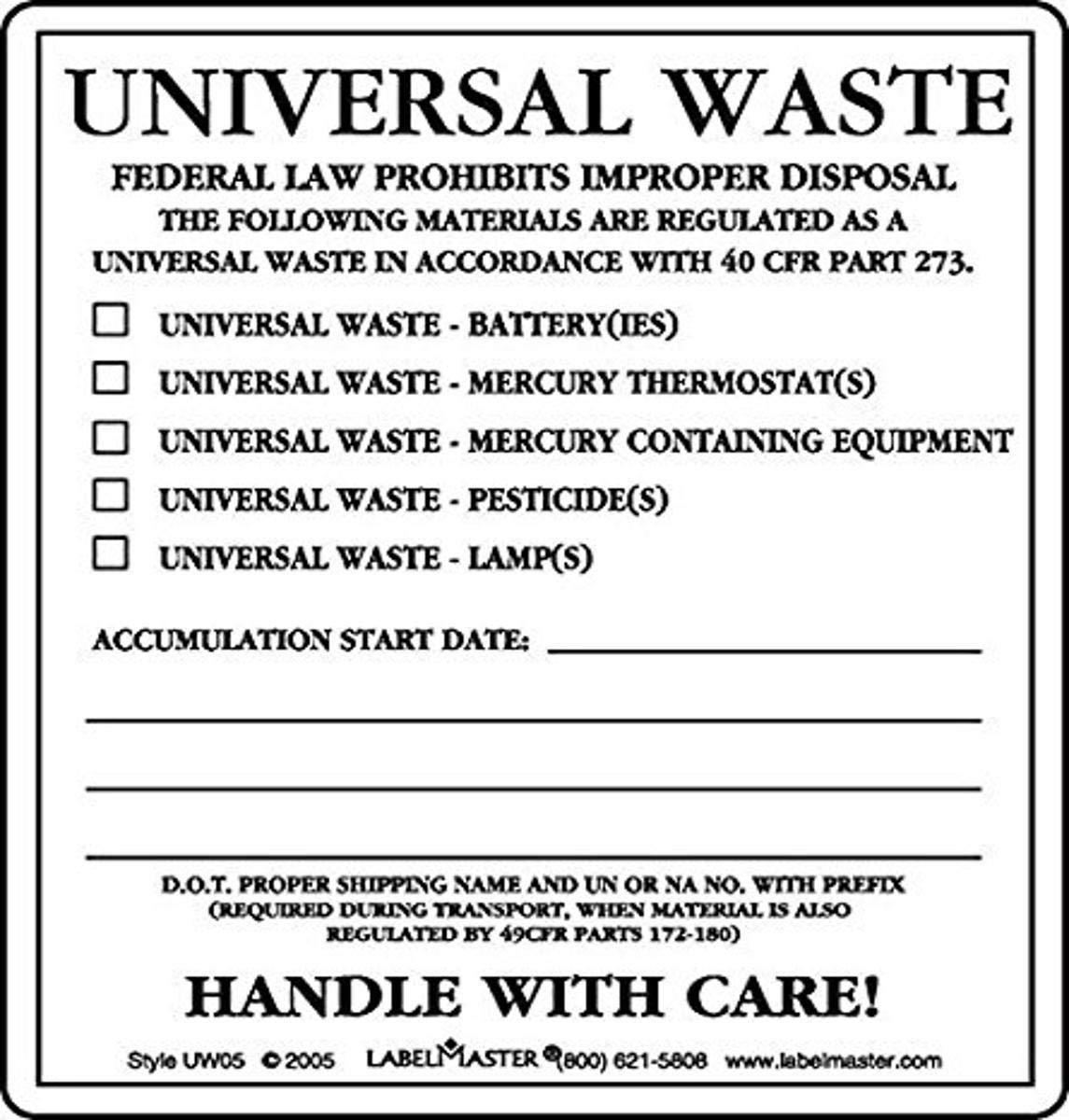 Labelmaster UW05 Universal Waste Label, PVC-Free Film Stock (Pac