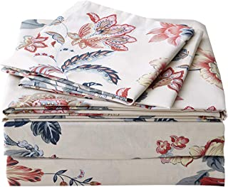 FADFAY Sheet Set Twin XL Farmhouse Bedding Vintage Peony Shabby Floral Bedding 100% Cotton Super Soft Hypoallergenic Yellow and Gray Deep Pocket Fitted Sheet 4-Pieces Twin Extra Long Size