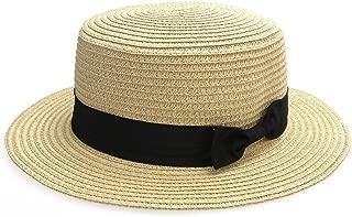 Women Bowknot Straw Hat Summer Fedoras Boater Sun Hat