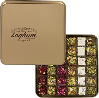 Loqhum Turkish Delight - Mix of 6 Flavors - Milk, Honey, Pomogrenate, Grape and Orange Covered with Nuts & Fruits - Authentic Turkish Lokum in a Premium Tin Gift Box - 36 pcs