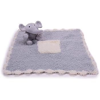 Barefoot Dreams CozyChic Pocket Buddie, Newborn and Baby Blanket with Soft Stuffed Animal