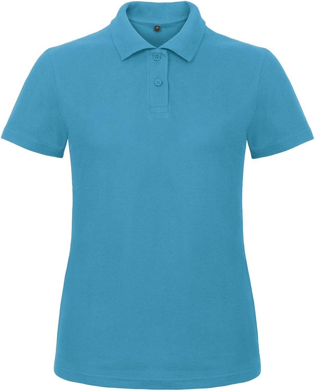 B&C Womens/Ladies ID.001 Plain Short Sleeve Polo Shirt (S) (Atoll)