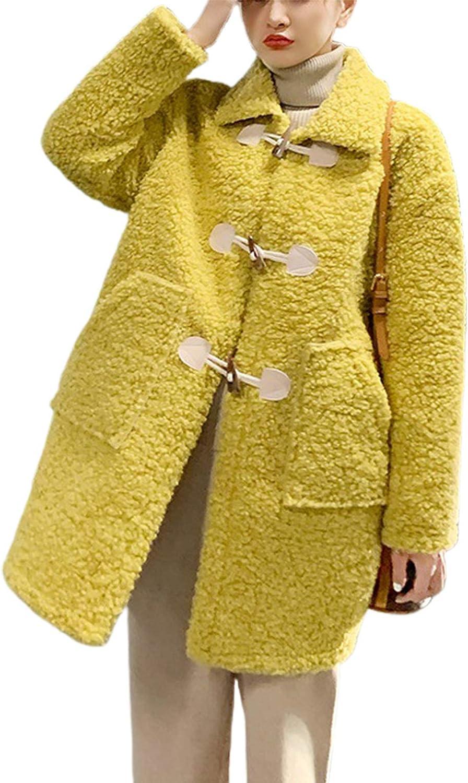 CHARTOU Women's Fuzzy Faux Fur Lambswool Toggle Duffle Midi Long Coat Outwear