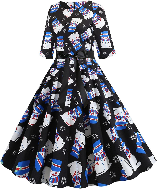 Kanzd Christmas Dresses for Fashion Women Retro Crewneck Sleeve 3 Mail order cheap Cute 4