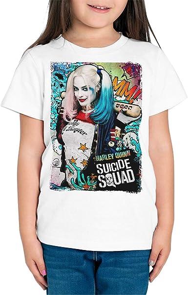 DibuNaif Camiseta Niña - Unisex Superhéroe y Villanos Harley Quinn