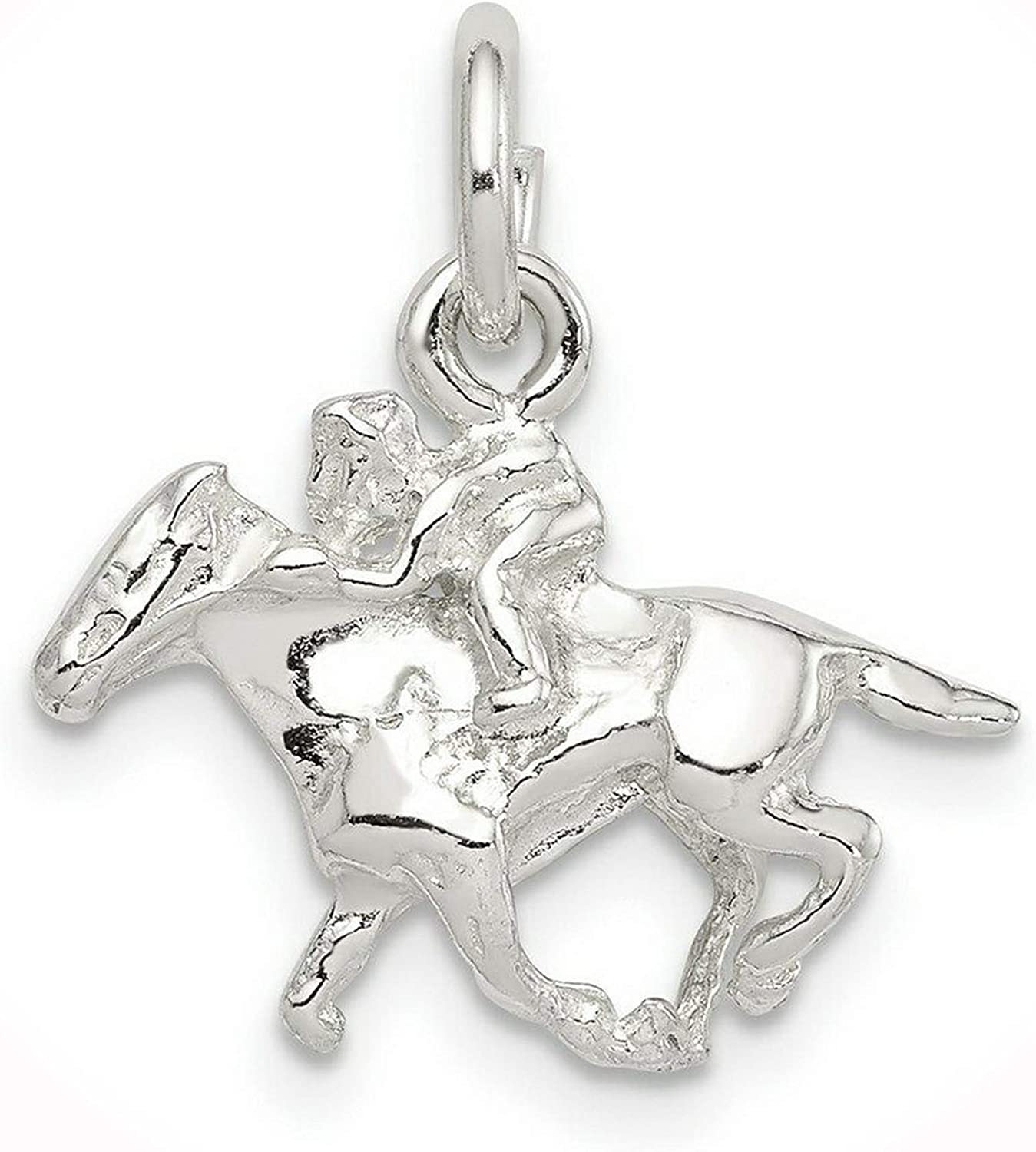 Package of Silver Ranking TOP8 Sterling 925 Polished Horse Max 42% OFF with P Rider Charm