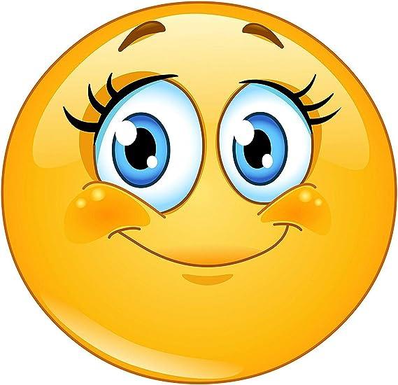 Easydruck24de Smiley Aufkleber Wimpern I Kfz 291 I Rund Ø 15 Cm I Süßer Emoticon Sticker Für Laptop Notebook Tür Roller Auto I Wetterfest Auto
