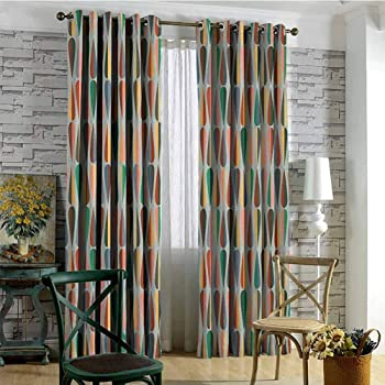 Amazon Com Grogon Grommet Blackout Curtains Mid Century Simple Two Colored Drop Shapes Grid Symmetrically Lined On Grey Background Bedroom Patio Sliding Door Multicolor W72 Xl84 Home Kitchen