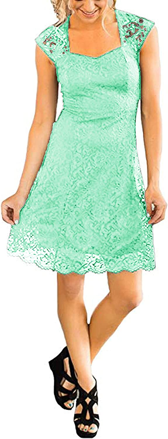 Udresses Women's Bridesmaid Dresses Country Lace Cap Sleeve Maid of Honor Dress