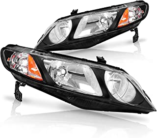 For 2006 2007 2008 2009 2010 2011 Honda Civic 4-Door Sedan Headlight Assembly Headlamp Replacement,Black Housing Amber Reflector(Only for 4-Door)