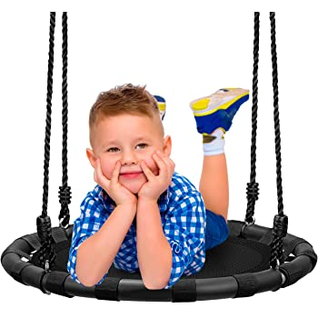 """Sorbus Spinner Swing – Kids Round Mat Swing – Great for Tree, Swing Set, Backyard, Playground, Playroom – Accessories Included [New Improved 2020 Design!] (24"""" Mat Seat)"""