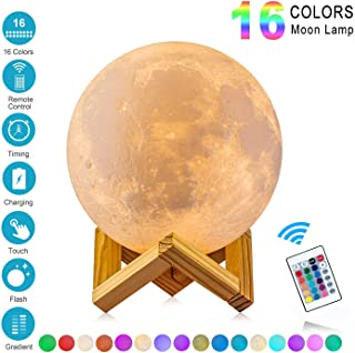 Lámpara de Luna 3D,16 Colores RGB Luz Nocturna Luna LED
