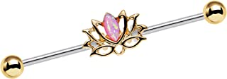 Body Candy Stainless Steel Pink Synthetic Opal Lotus Industrial Barbell 14 Gauge 38mm