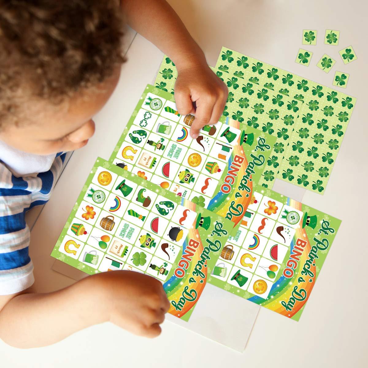 Juego de bingo para el día de San Patricio, 24 jugadores, suministros para juegos de fiesta para niños: Amazon.es: Juguetes y juegos