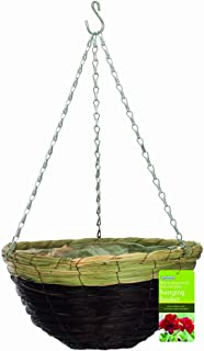 "Gardman R265 Black Seagrass and Natural Grass Hanging Basket, 14"" Diameter"