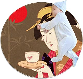 Soft Round Area Rug 100x100cm/39.4x39.4IN Anti-Slip Floor Circle Mats Absorbent Memory Sponge Standing Mat,Japanese Girl B...