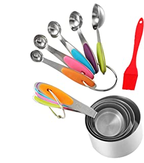 Measuring Cups10 Piece Spoons Set and brush for Stainless Steel Cup for Food Measurement in Baking and Cooking