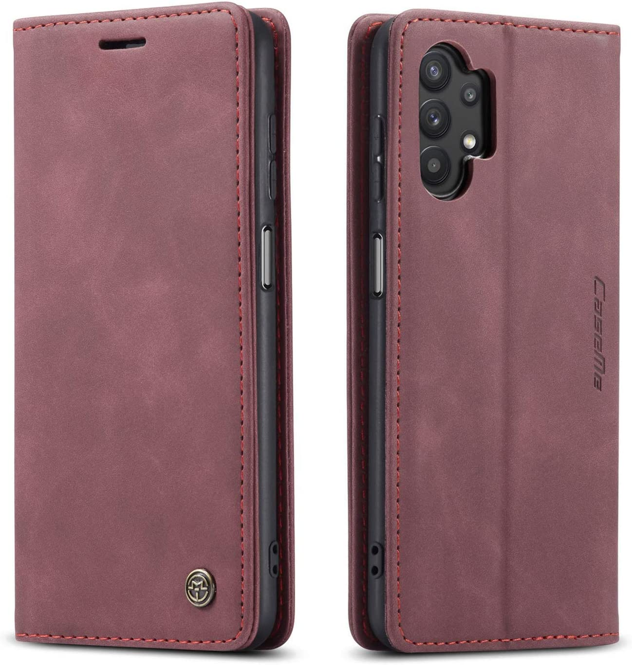 Kowauri Flip Case for Galaxy A32 4G [NOT Compatible with Galaxy A32 5G],Leather Wallet Case Classic Design with Card Slot and Magnetic Closure Flip Fold Case for Samsung Galaxy A32 4G (Wine red)