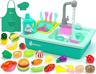 KIDPAR 38 Pcs Color Changing Kitchen Play Sink Toys for Kids,Toddler Electric Dishwasher with Auto Running Water Cycle Sys...