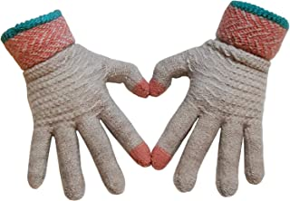 LAQ DESiGN Winter Knit 2 Fingers Touchscreen Gloves Warm Thermal Soft Lining Elastic Cuff Texting Anti-Slipfor Women