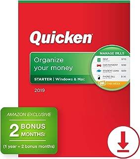 Quicken Starter 2019 Personal Finance Software [PC/Mac Download] 1-Year Subscription + 2 Bonus Months [Amazon Exclusive]