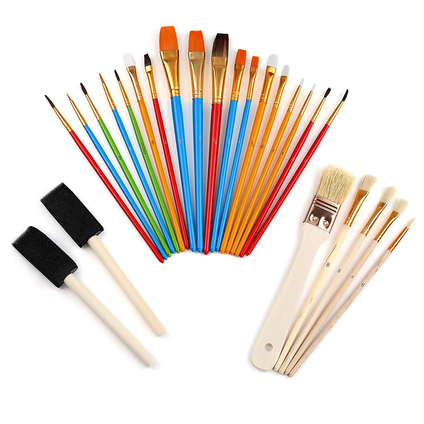25 Pcs Round Pointed Tip Nylon Hair Brush Set Oil Brush Set Painting Pen Watercolor Acrylic Oil Painting Supplies