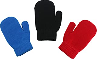 Magic Stretch Winter Mittens for Boys, Kids & Children - 3 Pack Dino, Solid Colors, Trucks