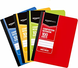 AmazonBasics Wide Ruled Composition Notebook, 100 Sheet, Assorted Solid Colors, 4-Pack