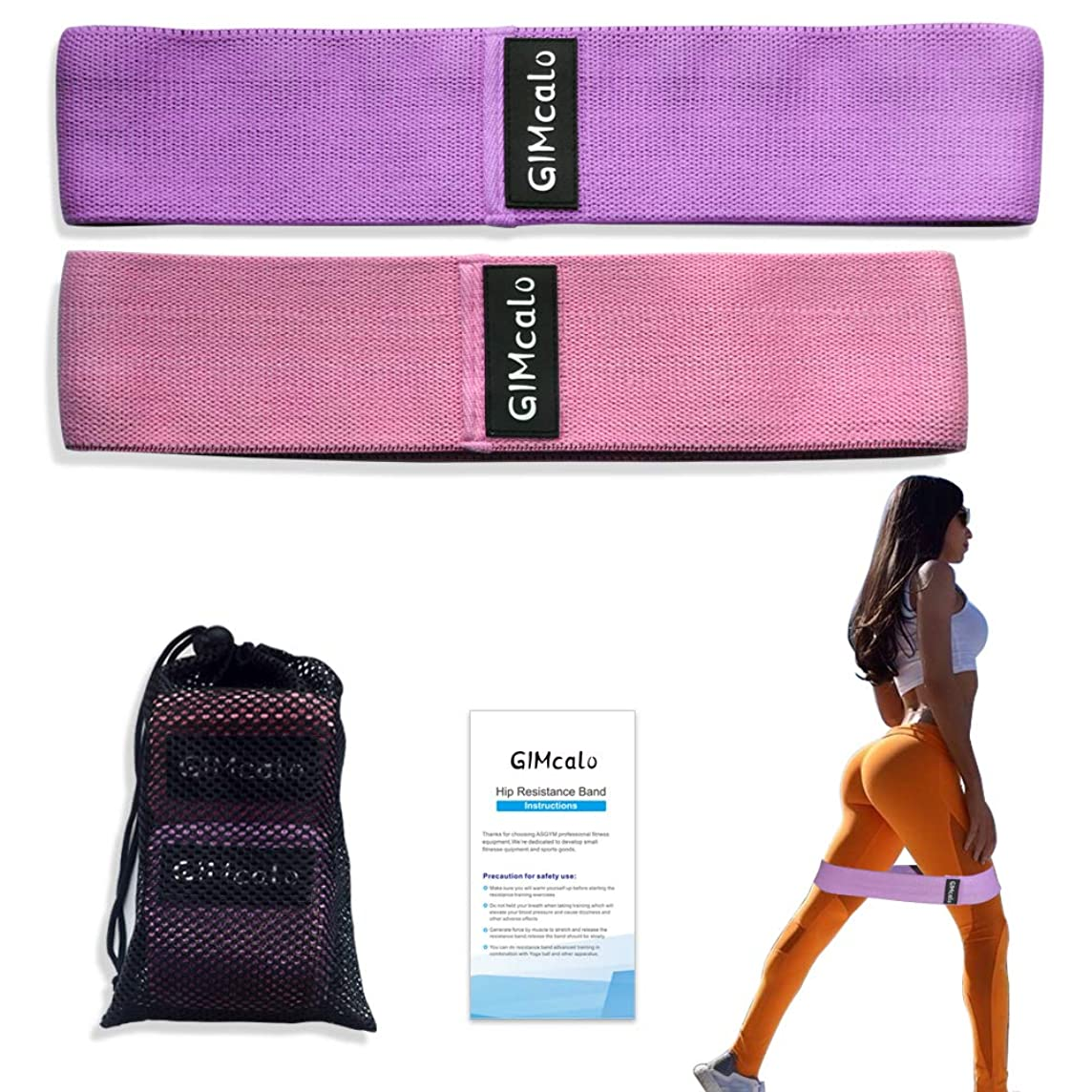 GIMcalo Glute Bands Hip Resistance Bands Workout Bands Exercise, Booty Circle Resistance Bands for Legs and Butt, Non-Slip Heavy Fabric Hip Band for Women Men, Thigh Loop Set of 2