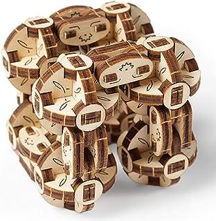 UGEARS Flexi-Cubus – Rompecabezas Mecánico Flexi-Cubus – Puzzle 3D Antiestrés – Mejora la Atención y la Concentración – Maqueta de Autoensamblado – Maqueta de 144 Piezas