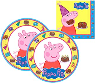 Amscan Peppa Pig Party Supplies Pack for 16 Guests Includes: 16 Lunch Plates and 16 Lunch Napkins