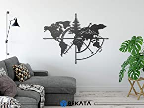 RestinART Metal World Map Wall Art World Map Mountains 3D Wall Silhouette Metal Wall Decor Home Office Bedroom Living Room Decoration (40