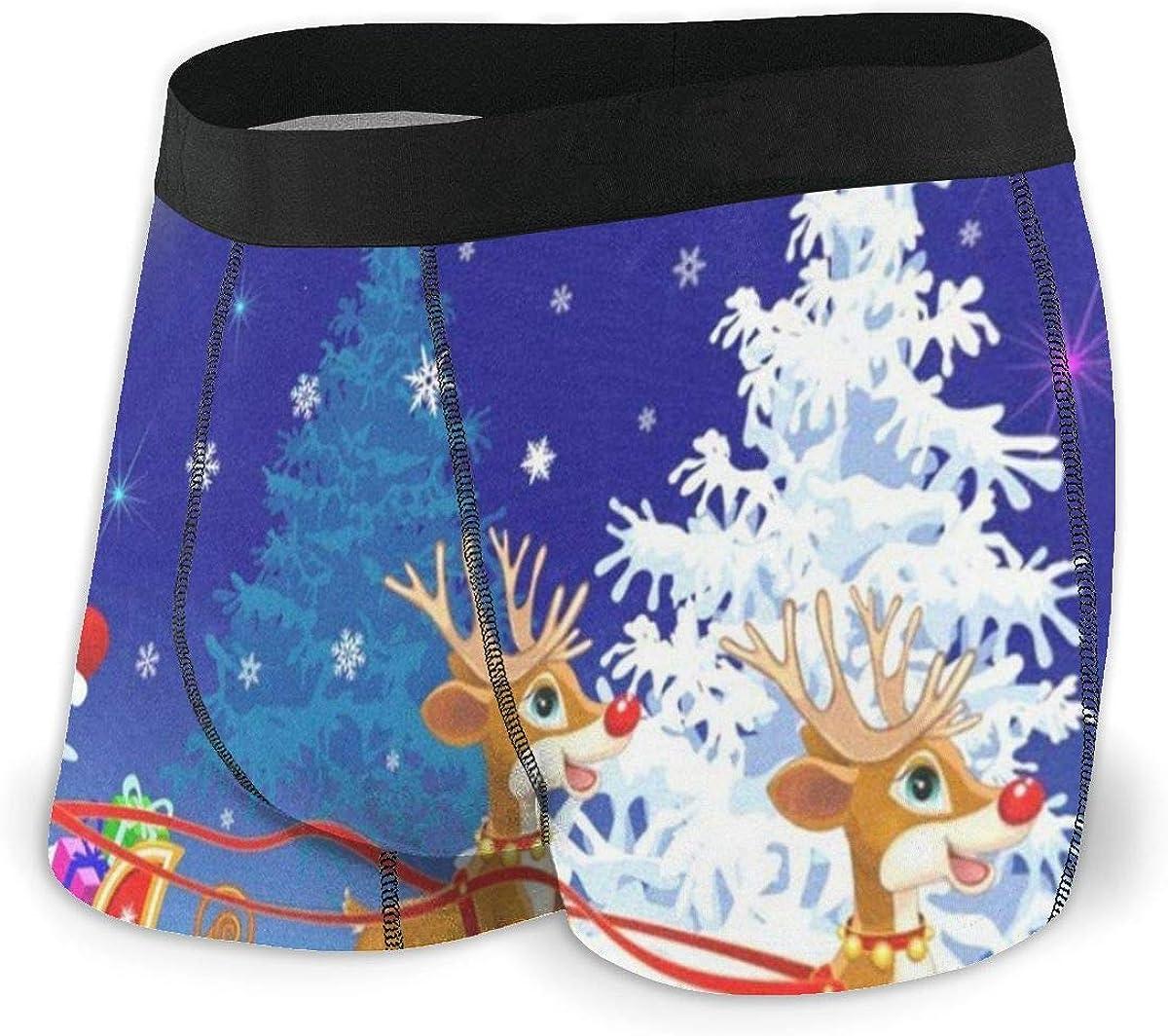 Mens Boxer Briefs Santa On Sleigh with Deer Christmas Breathable Underwear