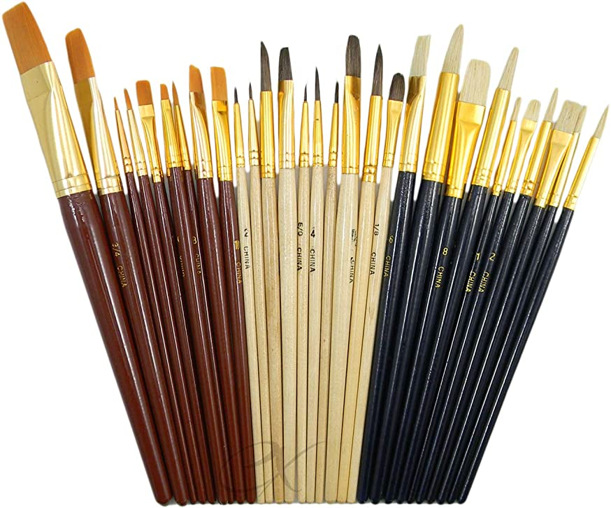 30pc Fine Art Paint Brushes for Acrylic, Oil, Watercolors