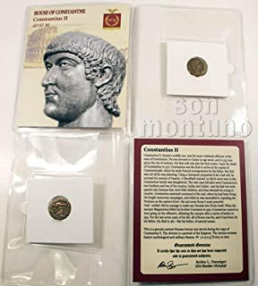 CONSTANTIUS II - Ancient Roman Bronze Coin in Folder with Certificate of Authenticity - SON OF CONSTANTINE THE GREAT 317-361 AD