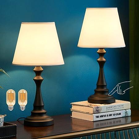 Lampe de chevet tactile, Kakanuo lampe de table avec abat-jour blanc en tissu, base noire en colonne romaine, lampe de chevet pour chambre, salon (lot de 2)