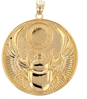 10k Yellow Gold Ancient Egyptian Winged Scarab Pendant