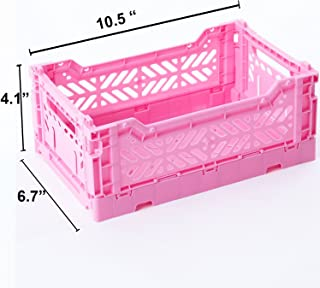 AY-KASA Collapsible Storage Bin Container Basket Tote, Folding Basket Crate Container : Storage, Kitchen, Houseware Utility Basket Tote Crate - Mini-Box (Baby Pink)