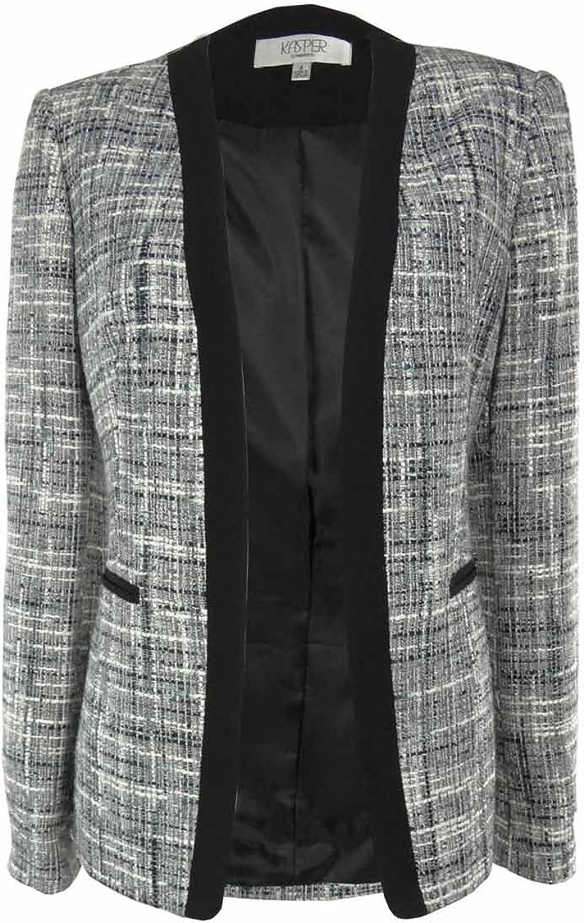 Kasper Separates Women's Jewel Box Tweed Textured Open Front Blazer