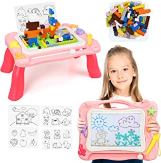 TOY Life Magnetic Drawing Board for Kids - 3 in 1 Magna Doodle Board for Toddlers - Kids Activity Table with Toy Blocks - ...