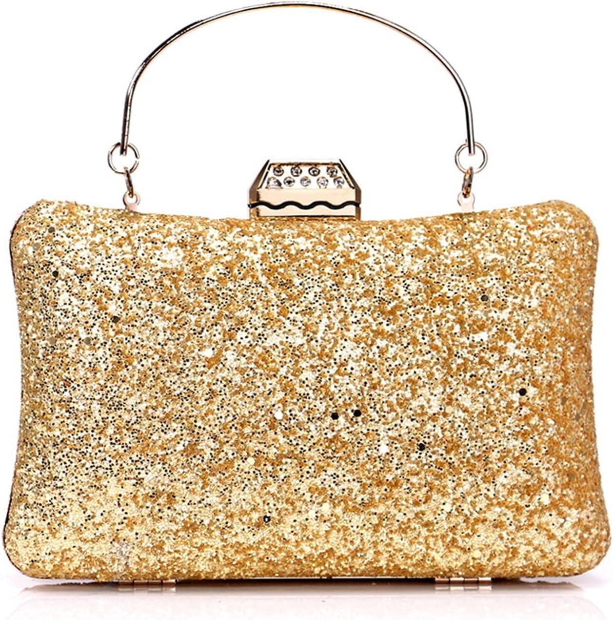Mubolin Glitter Evening Clutch Bag Rhinestone Handbag Leather Crossbody Shoulder Purse Wedding Cocktail Party Bag for Women and Girls (Color : Golden)
